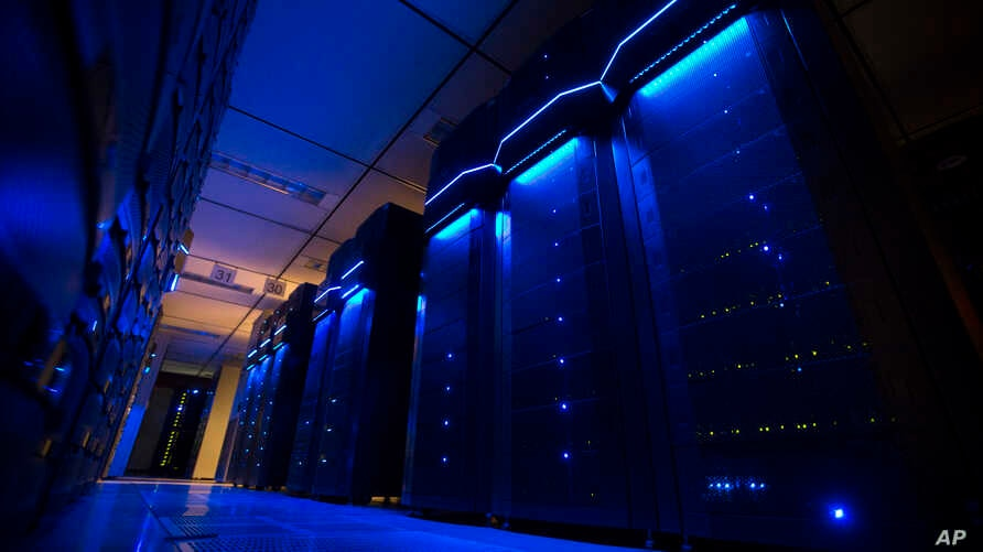 FILE - A photo shows server banks inside a data center at AEP utility headquarters in Columbus, Ohio, May 20, 2015.