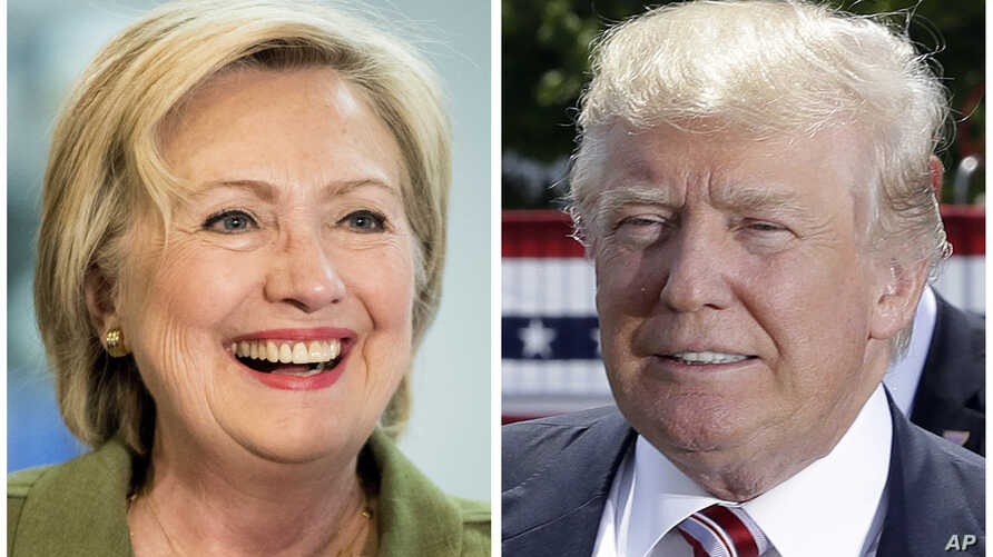 Democratic presidential candidate Hillary Clinton and Republican presidential candidate Donald Trump in 2016 photos.