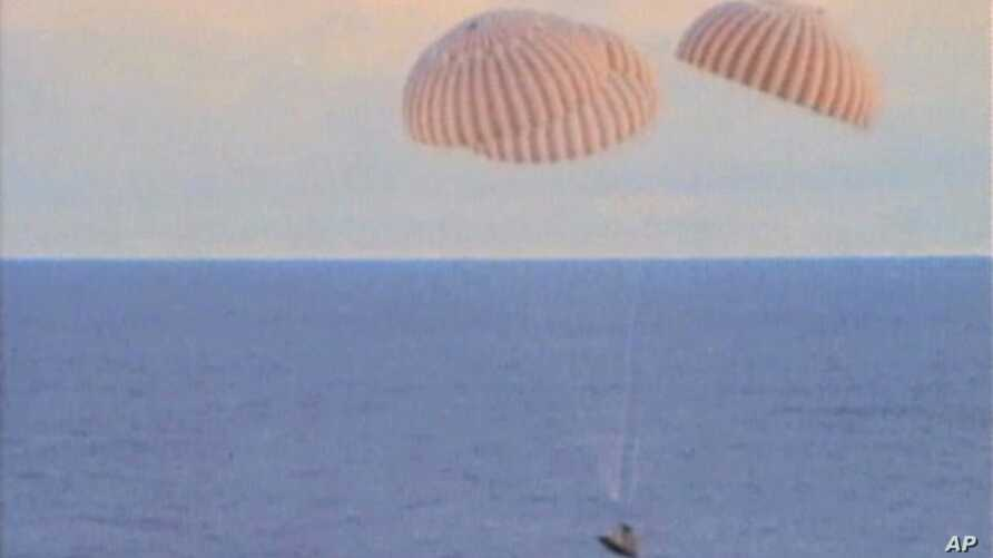 The crew of the Apollo 13 return safely to earth, 17 Apr 1970 (file photo)