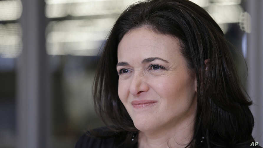 FILE - In a Feb. 3, 2015, file photo, Facebook chief operating officer Sheryl Sandberg is photographed at the company's headquarters in Menlo Park, California. Some women, and men, worry that the same climate that's emboldening women to speak up abou