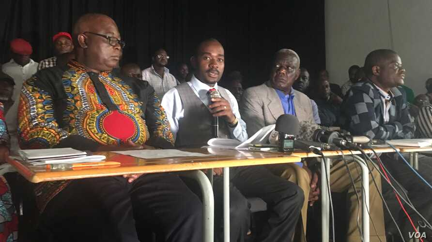 Movement for Democratic Change acting leader Nelson Chamisa addresses journalists in Harare, Zimbabwe, Feb. 23, 2018. Chamisa is expected to face off against President Emmerson Mnangagwa in this year's elections . (S. Mhofu/Harare)
