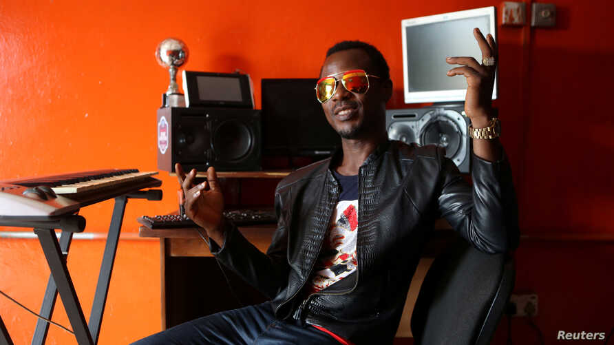 Music producer Keynote Adeosun poses for a picture in his recording studio in the Festac district of Lagos, Nigeria, May 17, 2016.