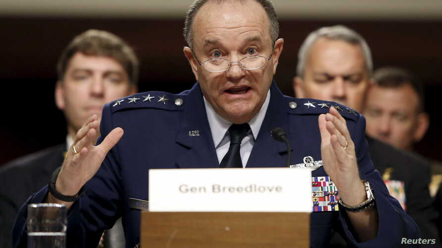 FILE - NATO commander U.S. Air Force Gen. Philip Breedlove is seen testifying at a Senate Armed Services Committee hearing on Capitol Hill in Washington, April 30, 2015.