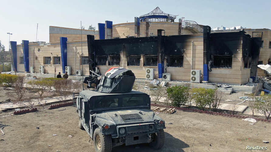 A military vehicle of the Iraqi security forces is pictured near the University of Anbar, in Anbar province July 28, 2015.