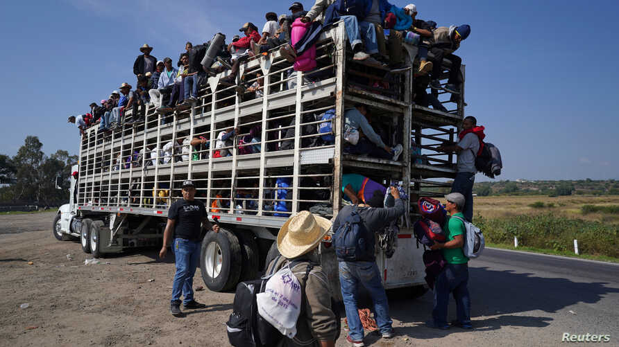U.S.-bound migrants from Central America travel inside a chicken truck as they head for Irapuato, Mexico, Nov. 11, 2018.