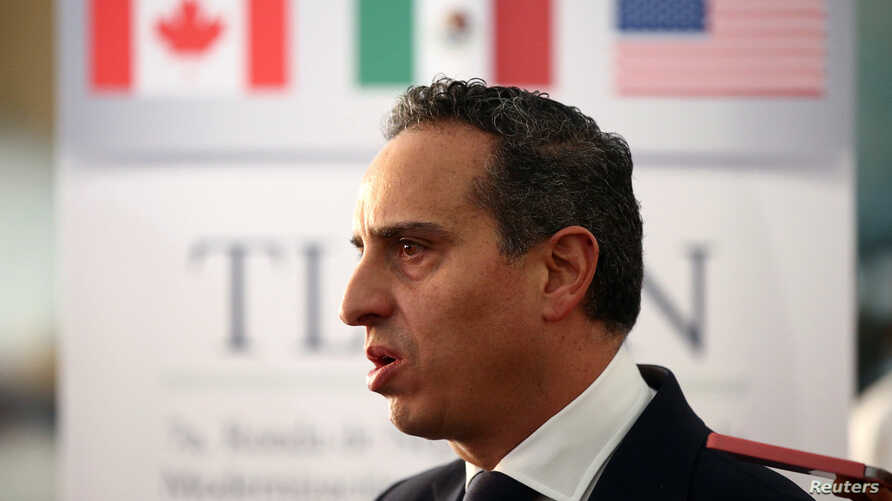 Moises Kalach, who heads the group coordinating the private sector's role in the NAFTA renegotiation, talks with journalists inside a hotel where the seventh round of NAFTA talks involving the United States, Mexico and Canada takes place, in Mexico C