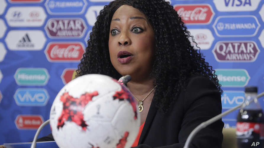 FILE - In this June 16, 2017, photo, FIFA secretary general Fatma Samoura talks to media during a news conference at the St. Petersburg Stadium, Russia.