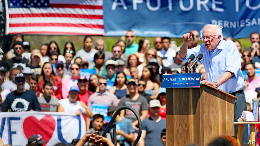 Democratic presidential candidate Sen. Bernie Sanders, I-Vt., speaks at a rally on Sunday, May 22, 2016.