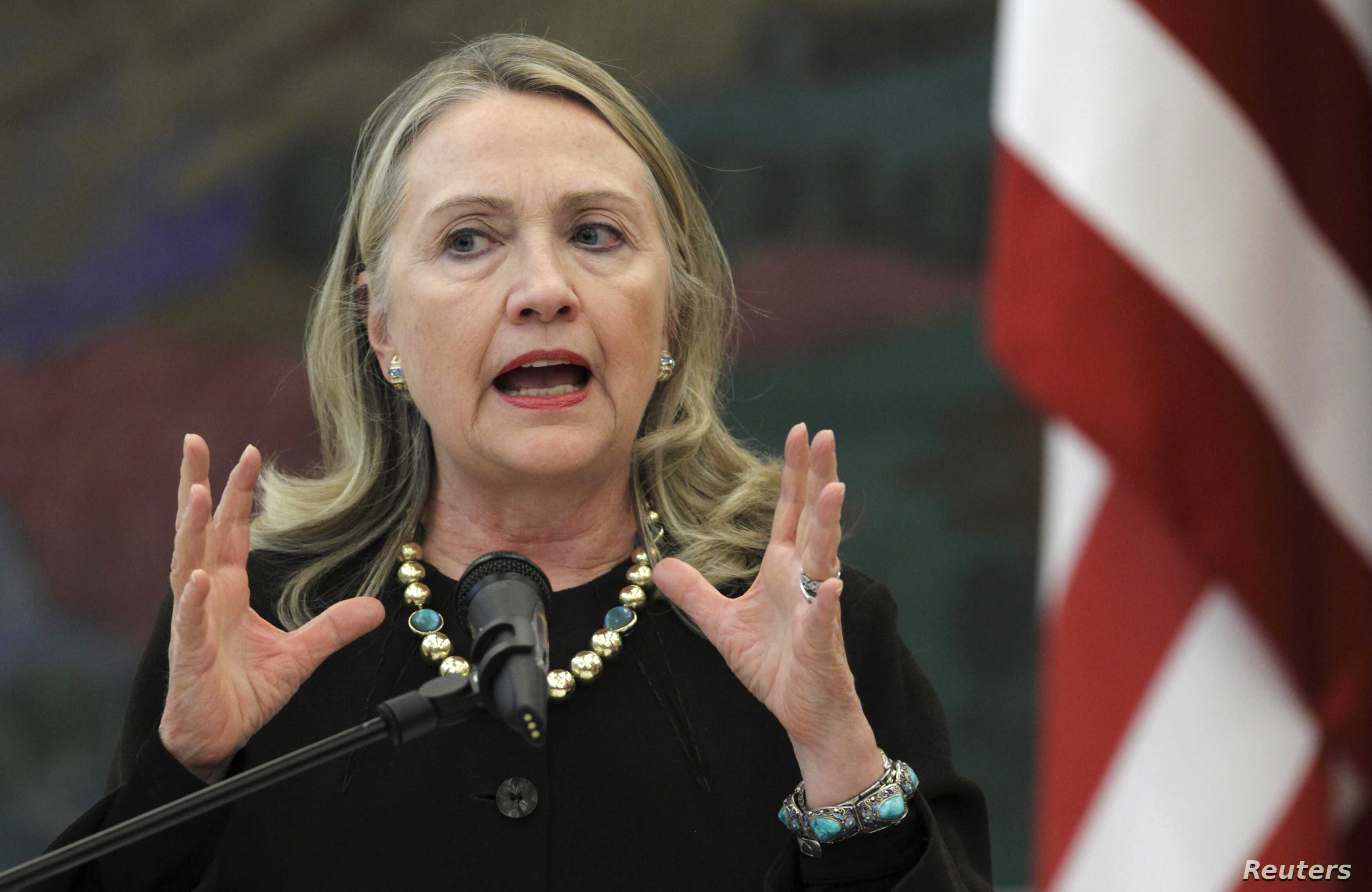U.S. Secretary of State Hillary Clinton speaks during a news conference with Croatian President Ivo Josipovic in Zagreb, October 31, 2012.