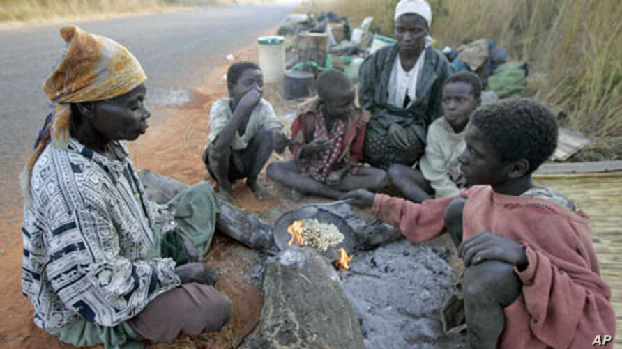 Family members of evicted farm workers cook breakfast on the side of the road outside Mvurwi village, about 130 kilometers west of Harare, May 2008. (file photo)