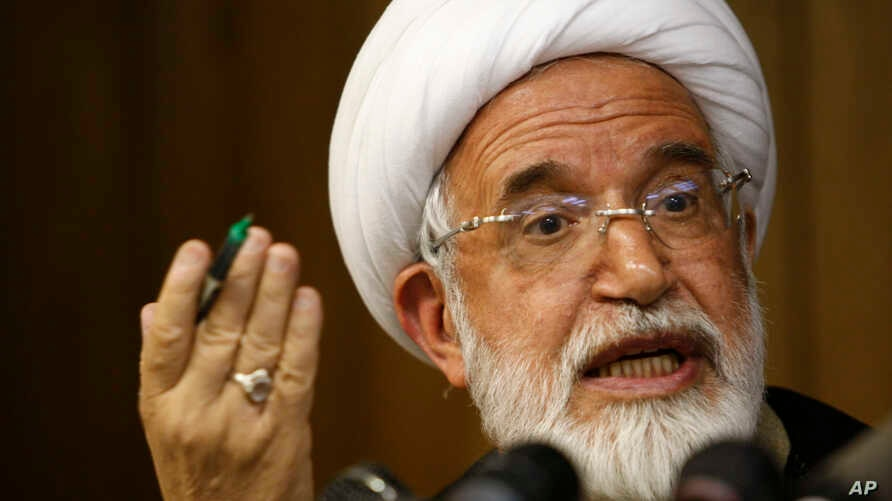 FILE - Iranian opposition leader Mahdi Karroubi, the father of Mohammad Taghi Karroubi and Mohammad Hossein Karroubi, has been under house arrest in Iran since 2011 for supporting protests against the results of the country's 2009 presidential electi