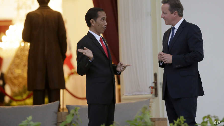 Britain's Prime Minister David Cameron, right, talks with Indonesian President Joko Widodo at the presidential palace in Jakarta, Indonesia, July 27, 2015.