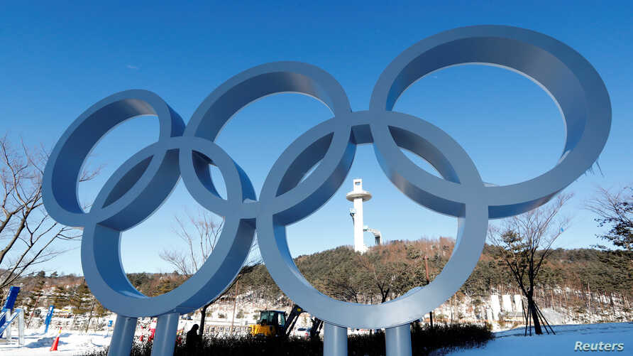 The Olympic rings are pictured at the Alpensia resort for the upcoming 2018 Pyeongchang Winter Olympic Games in Pyeongchang, South Korea, Jan. 23, 2018.