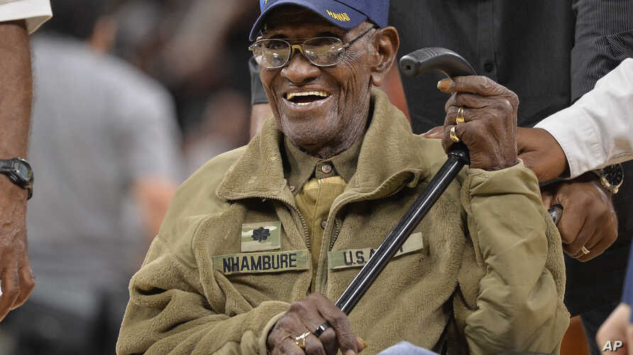 In this March 23, 2017, file photo, Richard Overton leaves the court after a special presentation honoring him as the oldest living American war veteran.