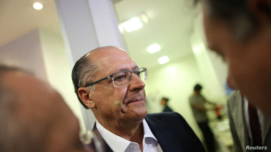 Governor of Sao Paulo, Geraldo Alckmin is seen as he leaves a meeting with members of the Brazilian Social Democracy Party (PSDB) in Brasilia, Brazil, Feb. 7, 2018.