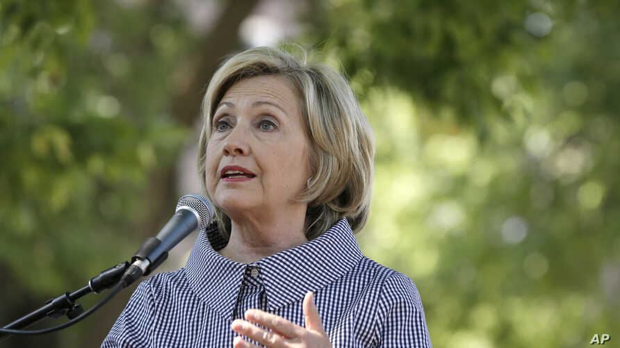 Democratic presidential candidate Hillary Clinton speaks during a news conference in Des Moines, Iowa,  Aug. 15, 2015.