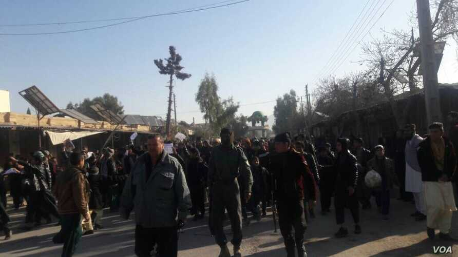 Residents protest against insecurity and call for security officials to step down, Farah Province.