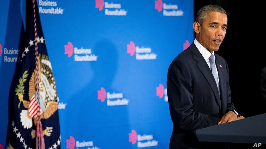 President Barack Obama speaks to business leaders at the quarterly meeting of the Business Roundtable in Washington, Sept. 16, 2015.