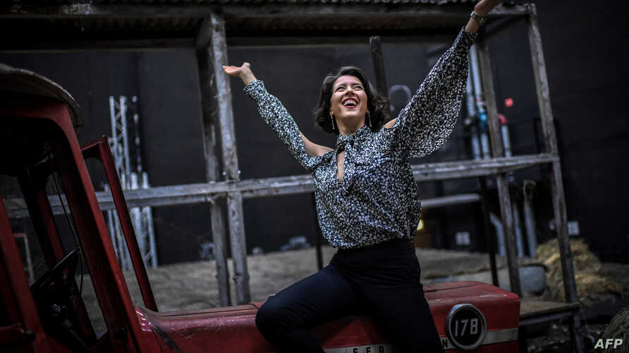 US soprano singer Lisette Oropesa poses during a photo session on Oct. 17, 2018 at the Opera Bastille in Paris.