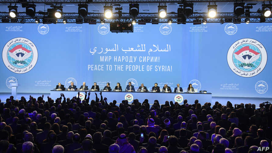 Delegates attend a plenary session at the Congress of Syrian National Dialogue in Sochi, Jan. 30, 2018.
