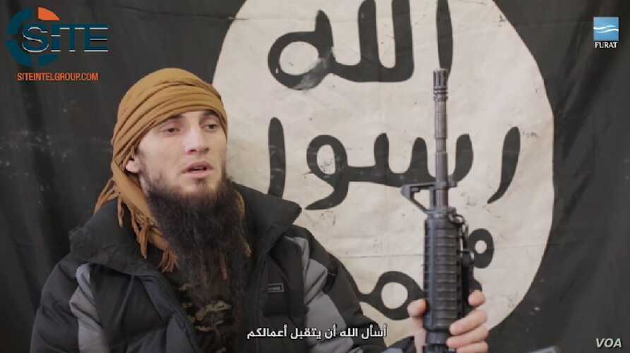 A screenshot depicts a Chechen suicide bomber from a Furat Media propaganda video distributed by the SITE Intelligence Group.