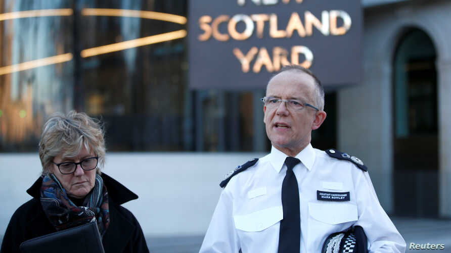 Assistant Commissioner Mark Rowley from the Metropolitan Police and Chief Medical Officer Sally Davies make a statement to the press concerning Sergei Skripal and his daughter, Yulia, who were poisoned by a nerve agent in the center of Salisbury, out