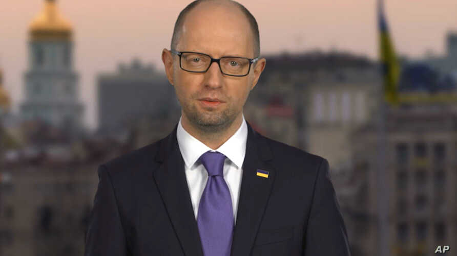 Ukraine's embattled Prime Minister Arseniy Yatsenyuk says in a televised statement that he is resigning, opening the way for the formation of a new government to end a drawn-out political crisis, in Kyiv, April 10, 2016.