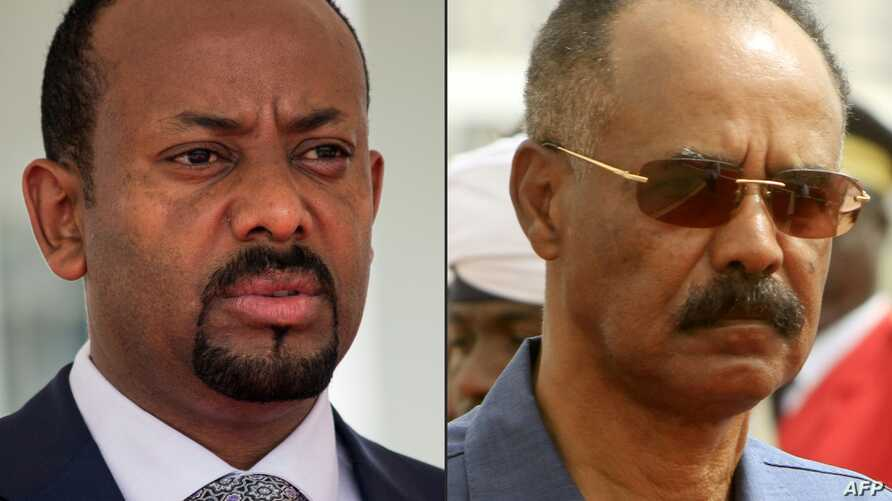 This combination of file pictures Ethiopia's Prime Minister Abiy Ahmed, left, in Entebbe, Uganda, June 8, 2018 and Eritrean President Isaias Afwerki reviewing the honor guard during his welcome ceremony in the Khartoum, Sudan, June 11, 2015.
