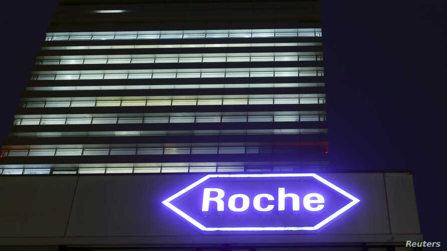 FILE - Swiss drugmaker Roche's logo is seen at their headquarters in Basel, Switzerland.