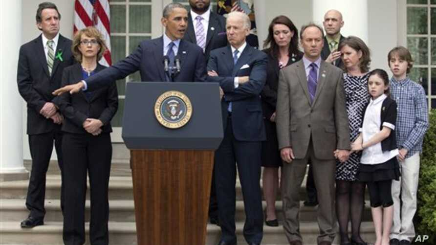 President Obama White House speaking on gun control vote with family members of school shooting victims and others, April 17, 2013