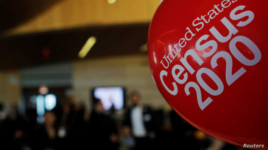 Balloons decorate an event for community activists and local government leaders to mark the one-year-out launch of the 2020 Census efforts in Boston, Massachusetts, April 1, 2019.