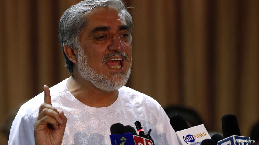 Afghan presidential candidate Abdullah Abdullah speaks during a news conference in Kabul, July 6, 2014.