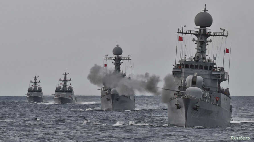 South Korea's naval ships take part in a military drill for possible attack from North Korea in the water of the East Sea, South Korea, Sept. 5, 2017.