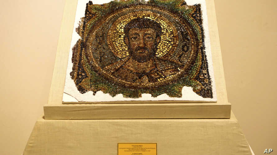 A rare mosaic depicting Saint Mark is displayed at the Byzantine Museum after its return to Cyprus, in Nicosia, Nov. 21, 2018.