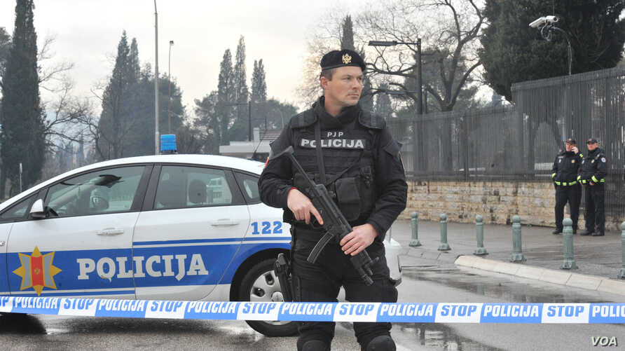 Montenegro - Police block off the area around the US embassy building in Podgorica after attack on embassy building, 22Feb2018.