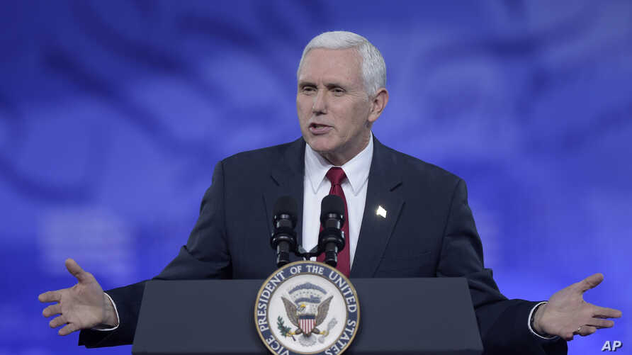 Vice President Mike Pence speaks at the Conservative Political Action Conference in National Harbor, Md., Feb. 23, 2017.