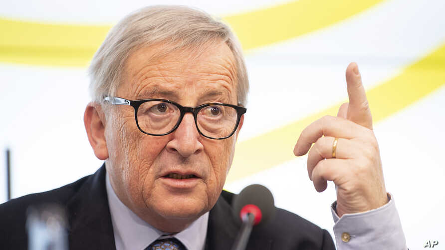 Jean-Claude Juncker, President of the European Commission, speaks during a visit to the Landtag of Baden-Württemberg, Feb. 19,2019, in Stuttgart, Germany.