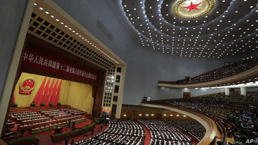 Chinese Premier Li Keqiang delivers a work report at the opening session of the annual National People's Congress at the Great Hall of the People in Beijing, March 5, 2016.
