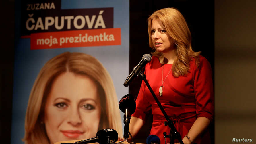 Slovak presidential candidate Zuzana Caputova speaks after the first unofficial results were available at party election headquarters in Bratislava, Slovakia, March 16, 2019.