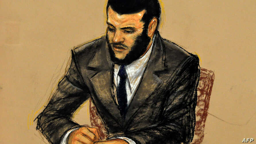 In this Pentagon-approved courtroom drawing by artist Janet Hamlin, Omar Khadr listens to replaying of McCarthy testimony October 31, 2010.