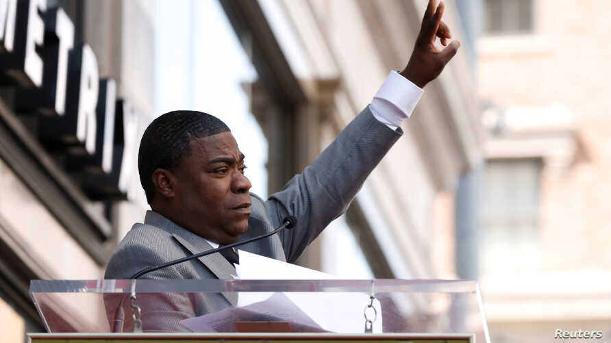 Actor Tracy Morgan speaks before unveiling his star on the Hollywood Walk of Fame in Los Angeles, California, April 10, 2018.