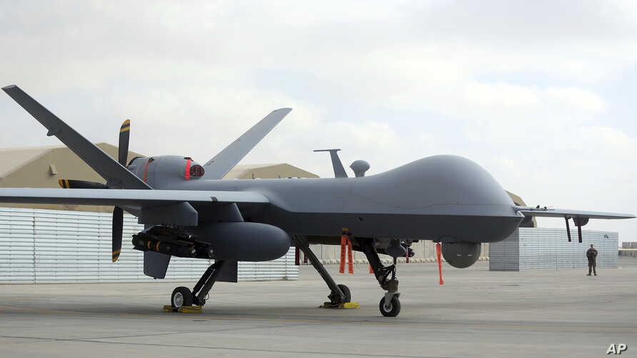 FILE - A U.S. MQ-9 drone is seen at Kandahar Airfield, Afghanistan, Jan. 23, 2018.