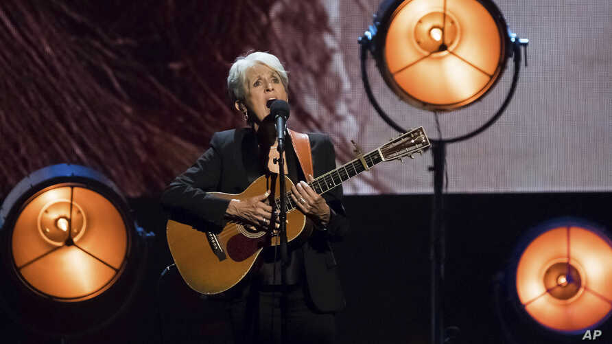 Inductee Joan Baez performs at the 2017 Rock & Roll Hall of Fame induction ceremony at the Barclays Center on April 7, 2017, in New York.