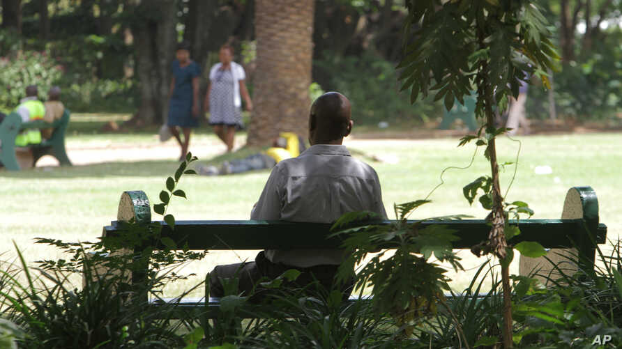 FILE - A man sits on a bench in a park in Harare, March 26, 2014.