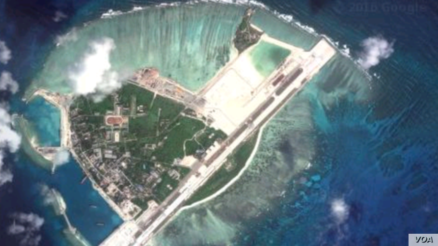 A satellite view of the recent build up on Woody Island.