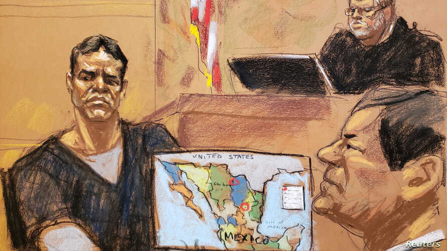 "Vicente Zambada takes the witness box at the trial of accused Mexican drug lord Joaquin ""El Chapo"" Guzman, right, in this courtroom sketch in Brooklyn federal court in New York, Jan. 3, 2019."