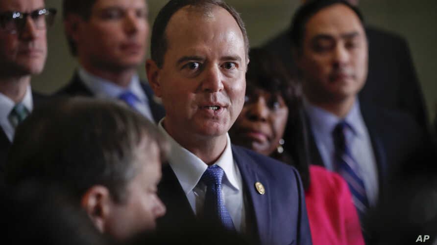 Rep. Adam Schiff, D- Calif., ranking member of the House Intelligence Committee, speaks to members of the media, Jan. 29, 2018, on Capitol Hill in Washington.