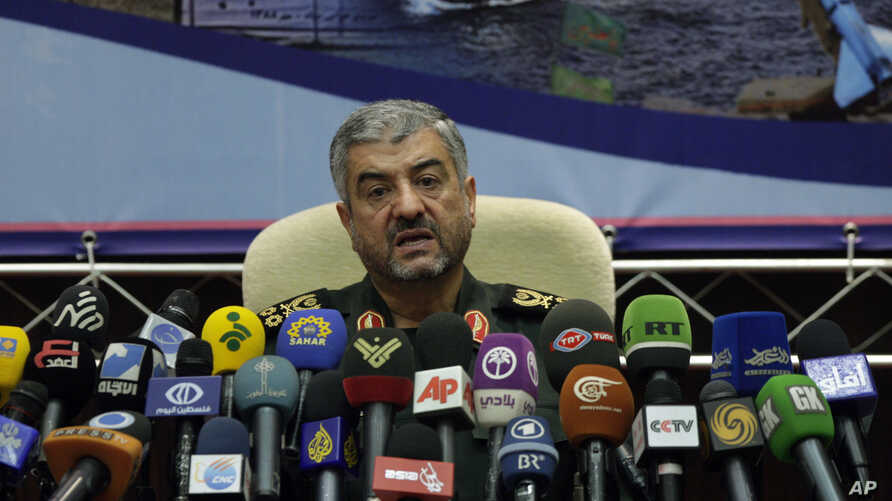Commander of Iran's Revolutionary Guard Gen. Mohammad Ali Jafari, speaks at a press conference in Tehran, Iran, Sunday, Sept. 16, 2012.