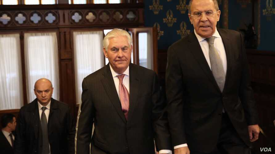 U.S. Secretary of State Rex Tillerson with Russian Foreign Minister Sergei Lavrov ahead of their bilateral meeting at the Osobnyak Guest House in Moscow, Russia, on April 12, 2017.