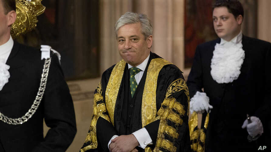 "Britain's Speaker of the House of Commons John Bercow, seen in this June 4, 2014 file photo,  says he is ""strongly opposed"" to letting U.S. President Donald Trump address parliament during a state visit to Britain later this year."